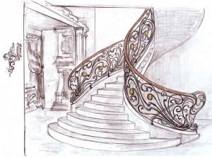 Кованая лестница ограждение
