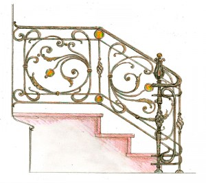 Кованая лестница перила