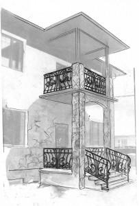 Кованое ограждение балкона главный вход