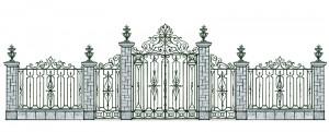 Кованые ворота и забор