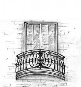 Маленький кованый балкон