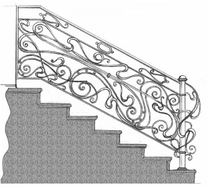 Перила кованые лестницы