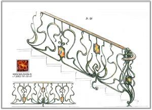 кованая лестница с витражными вставками