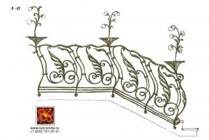 декоративные кованые светильники на лестнице